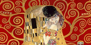 2GK4485 - Klimt - The Kiss, detail (Red variation)